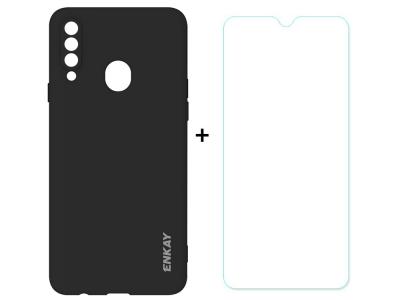 Силиконов калъф ENKAY със стъклен протектор 2.5D Arc Edge за Samsung Galaxy A20s, Черен
