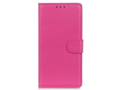 Калъф Тефтер Litchi Grain Wallet за Motorola Moto G9 Plus, Розов