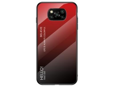 Стъклен калъф Glass за Xiaomi Poco X3 NFC, Червен/ Черен