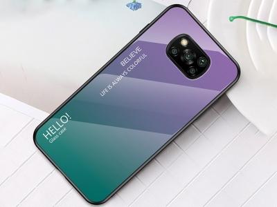 Стъклен калъф Glass за Xiaomi Poco X3 NFC, Лилав / Зелен