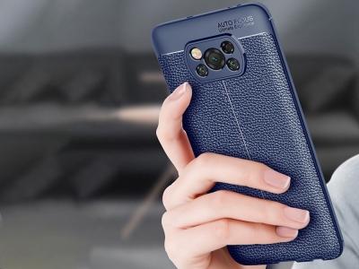 Силиконов калъф Litchi за Xiaomi Poco X3 NFC/Poco X3, Син