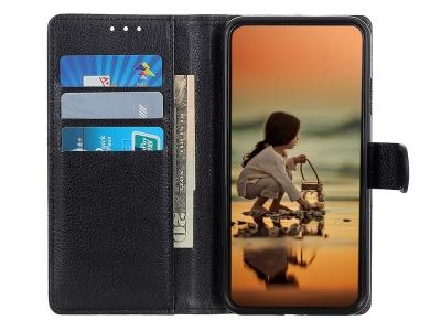 Калъф Тефтер Litchi Grain Wallet Stand за OnePlus Nord, Черен