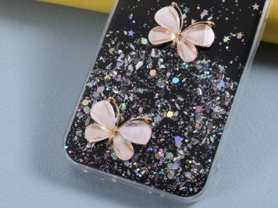 Удароустойчив калъф 3D Butterfly Rhinestone за iPhone 12 Pro /12, Черен