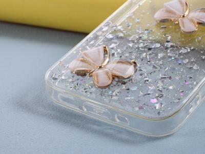 Удароустойчив калъф 3D Butterfly Rhinestone за iPhone 12 Pro/12, Прозрачен