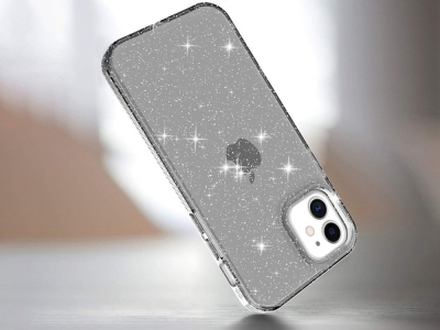 Силиконов калъф Glittery за iPhone 12 Pro/12, Прозрачен / Черен