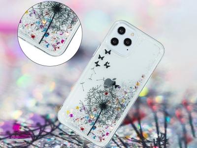 Силиконов гръб Glitter за iPhone 12 Pro Max, Глухарче и пеперуди