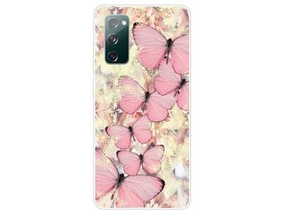 Силиконов калъф за Samsung Galaxy S20 FE / S20 Fan Edition, Розови пеперуди