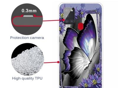 Силиконов калъф за Samsung Galaxy A21s, Пеперуда