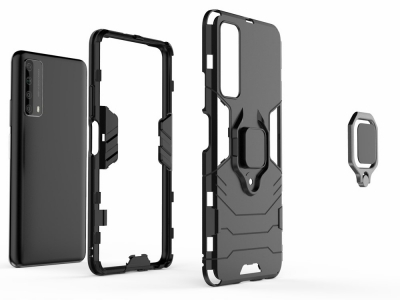 Удароустойчив Калъф Kickstand с поставка Huawei P smart 2021/Y7a , Черен
