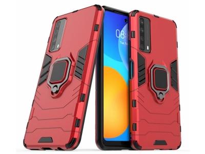 Удароустойчив Калъф Kickstand с поставка за Huawei P smart 2021/Y7a, Червен