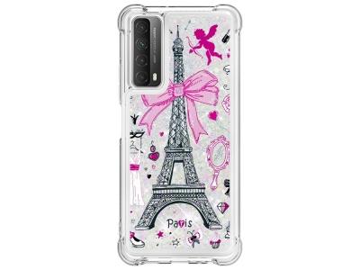 Силиконов калъф Glitter за Huawei P smart 2021 / Huawei Y7a,  Айфелова кула