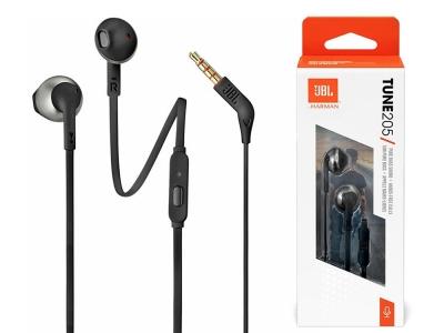 Аудио слушалки с кабел JBL T205, In-Ear, Pure Bass Sound, Микрофон, Черни