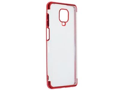 Силиконов гръб с лайстна CLEAR за Xiaomi Redmi Note 9 Pro, Червен