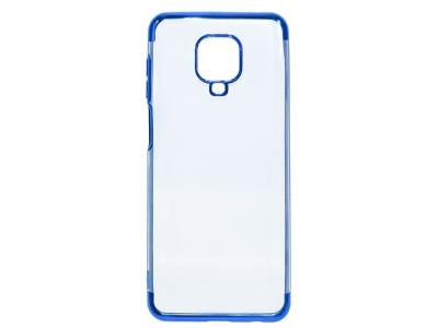 Силиконов гръб с лайстна CLEAR за Xiaomi Redmi Note 9 Pro, Син