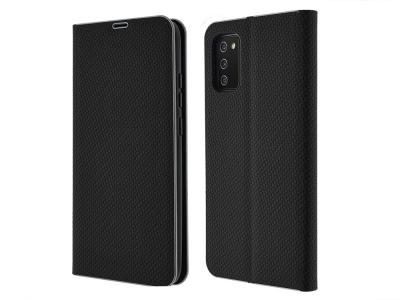 Калъф Тефтер Carbon LUNA за Samsung Galaxy A02s, Черен