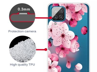 Силиконов калъф за Samsung Galaxy A12, Розови цветя