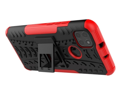 Удароустойчив калъф с поставка Hybrid за Motorola Moto G9 Power, Червен
