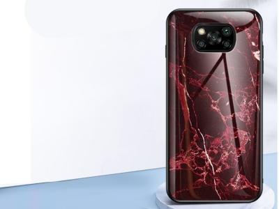 Калъф Гръб Glass за Xiaomi Poco X3/Poco X3 NFC, Мраморно червено