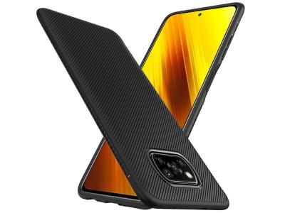 Силиконов Калъф Twill Texture за Xiaomi Poco X3/Poco X3 NFC, Черен