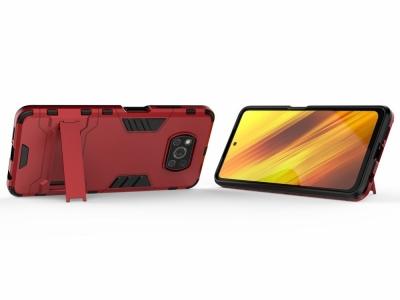 Удароустойчив Калъф с Поставка за Xiaomi Poco X3 NFC/Poco X3, Червен