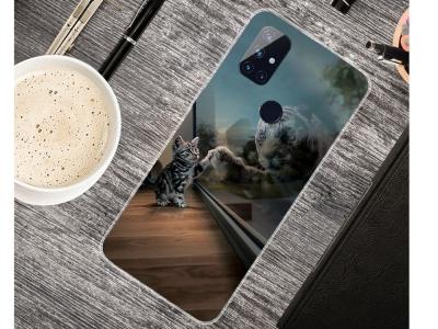 Силиконов калъф за OnePlus Nord N10 5G, Коте и Тигър