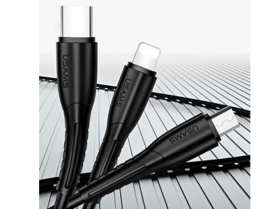 Зарядно за Автомобил USAMS U35 + Cable 3in1 Black
