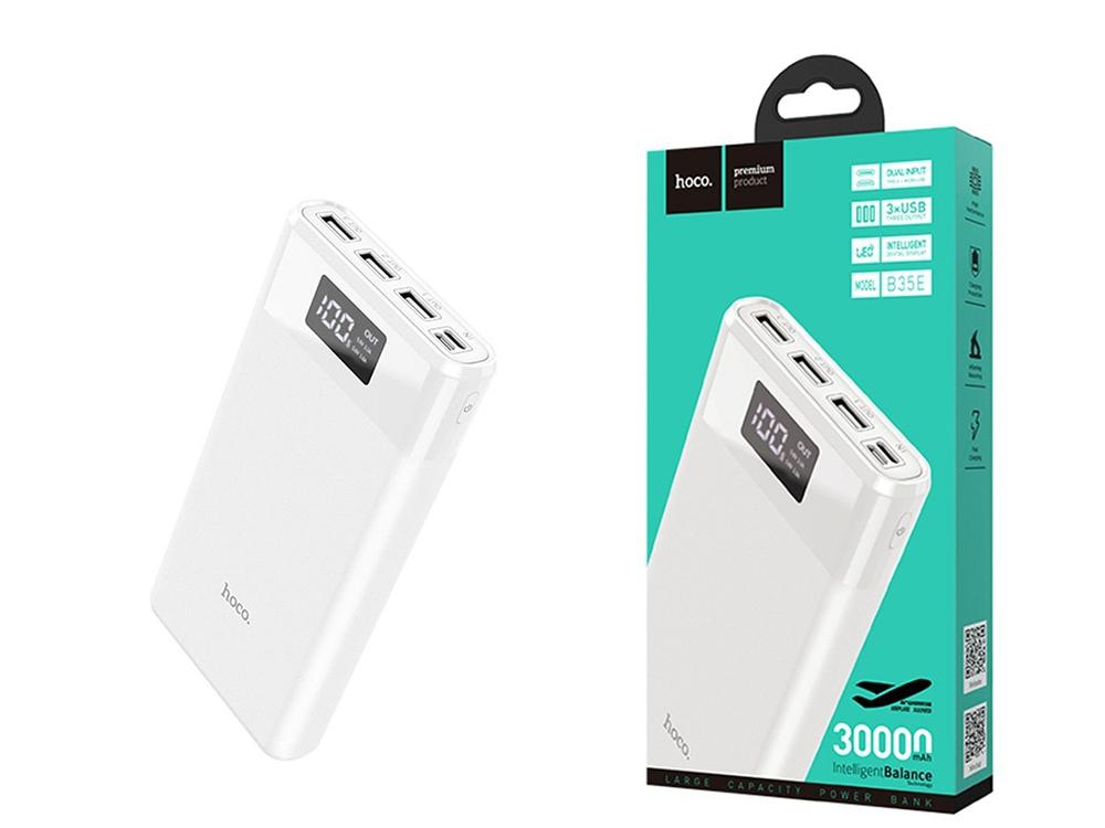 Универсална Външна Батерия HOCO 30000 mAh Entourage B35E, Бял