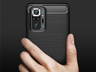 Силиконов гръб Carbon за Xiaomi Redmi Note 10 Pro, Черен