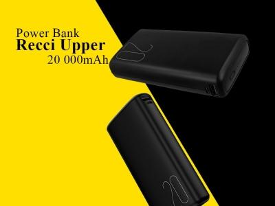 Универсална Външна Батерия Recci Upper Ru 20000mAh 2xUSB, Черен