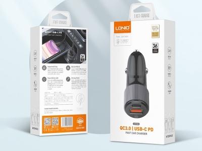 Зарядно за кола 12V-24v C510Q 36W с кабел USB Type C