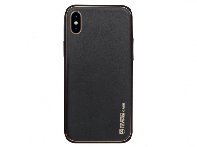 Удароустойчив калъф LEATHER за Iphone X, Черен
