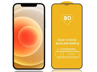 Стъклен Протектор 9D Full за iPhone 12 Pro, Черен