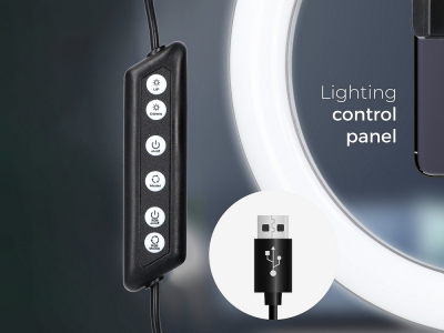 LED Лампа Ринг RGB със Статив и поставка за телефон 12 инча