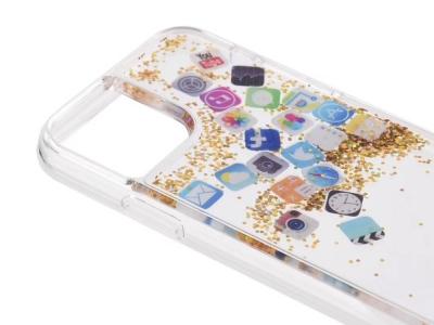 Силиконов калъф Glitter за  iPhone 11, APP Icon gold