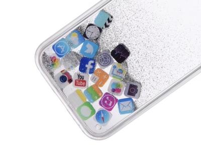 Силиконов калъф Glitter за  iPhone 11, APP Icon Silver