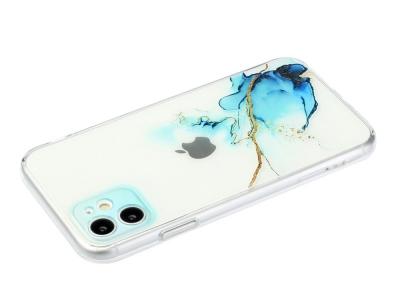 Силиконов калъф Marble за iPhone 11, Мрамор- син