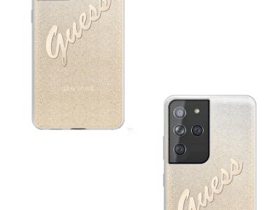 Оригинален Гръб Guess GLITTER GRADIENT SCRIPT за Samsung Galaxy S21 Ultra, Златист