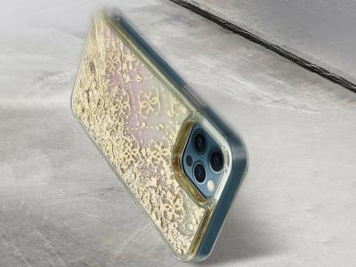 Оригинален Гръб Guess GRADIENT LIQUID GLITTER за iPhone 12 / iPhone 12 Pro, Златист