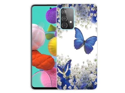 Силиконов калъф за Samsung Galaxy A72 4G/5G, Пеперуди и цветя