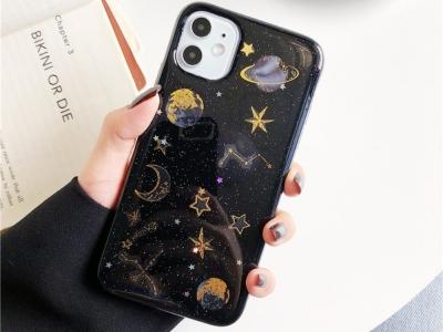 Силиконов калъф за iPhone 11, Звезди и Планети- Черен