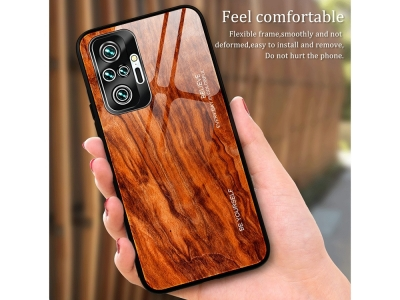 Стъклен Гръб Wood Grain за Xiaomi Redmi Note 10 Pro/Note 10 Pro Max, Тъмно дърво