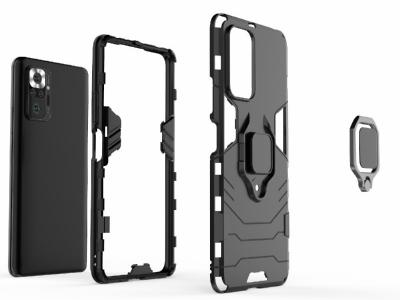 Удароустойчив калъф Kickstand за Xiaomi Redmi Note 10 Pro, Черен