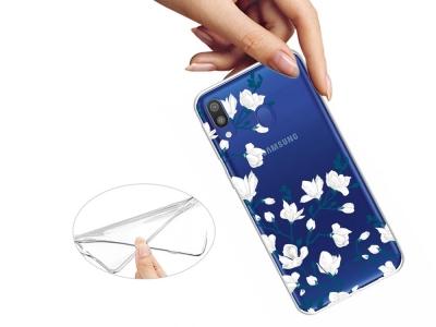 Силиконов калъф за Samsung Galaxy A40, Бели цветя