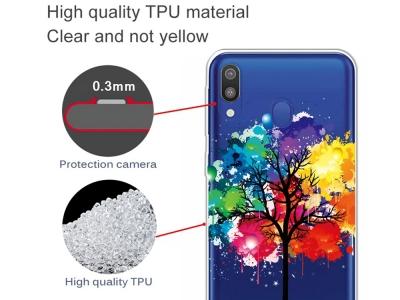 Силиконов калъф за Samsung Galaxy A40, Цветно дърво