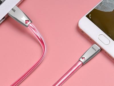 USB Кабел HOCO  Jelly Knitted U9 Micro USB, 1.2m, Розов