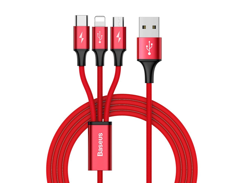 USB Кабел Baseus  3 in 1 ( Micro USB + Lightning + Type C) 1.2 m , Червен