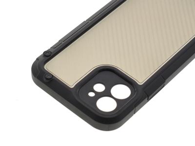 Удароустойчив калъф Shield Carbon за iPhone 12, Черен