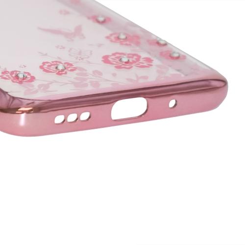 Силиконов калъф FLOWER за Xiaomi Redmi 9A, Розов-Златист