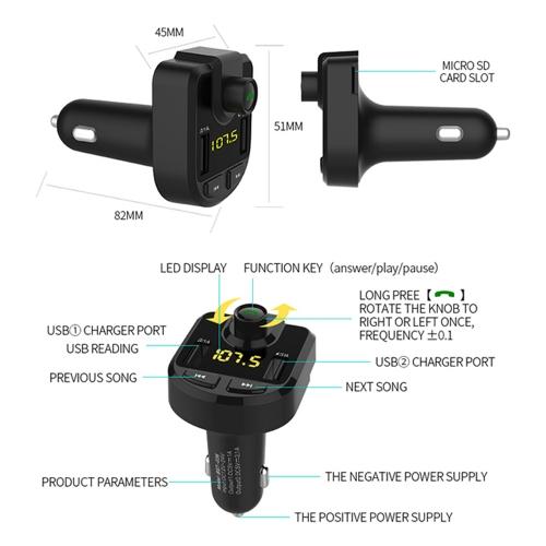 FM Трансмитер BT-36 MP3, Bluetooth - 2xUSB - micro SD card input