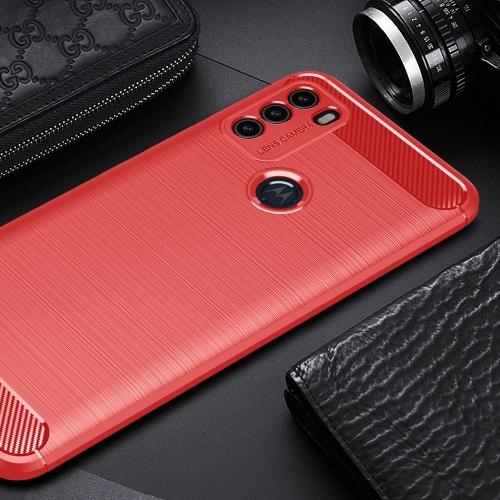 Силиконов Калъф Carbon за Motorola Moto G50, Червен